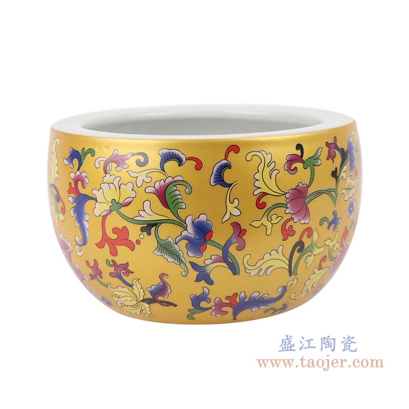 景德镇金色珐琅彩福寿双全陶瓷鱼缸