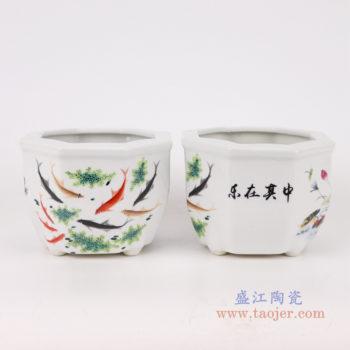 RYXP37-A/B/C/D   现代简约陶瓷摆件旧仿古粉彩仙鹤图纹六方花盆