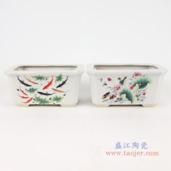 RYXP38-A/B/C 多款复古风格粉彩山水纹花盆