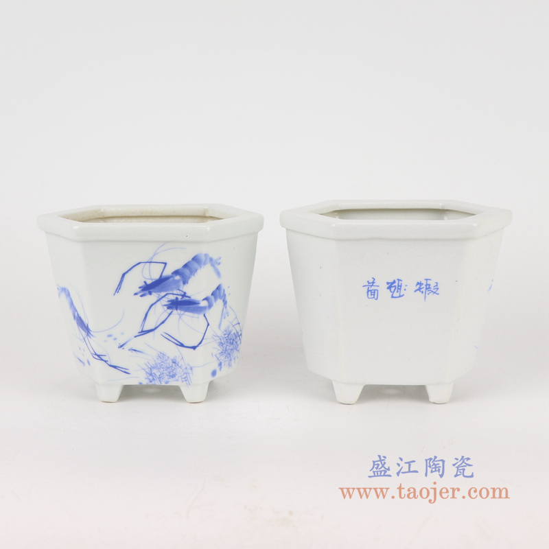 RYXP42-A/B/C   现代简约陶瓷摆件旧仿古粉彩花草图花盆
