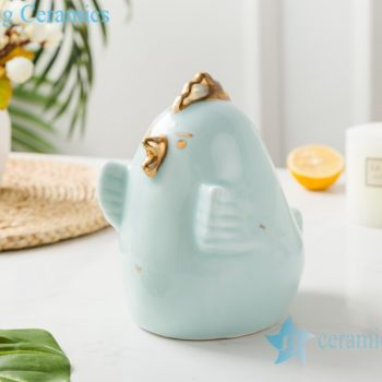 RZSH02  影青釉陶瓷装饰镀金雕塑鸡小鸟