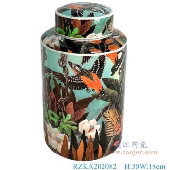 RZKA202082  直筒花鸟颜色釉中号陶瓷圆罐子