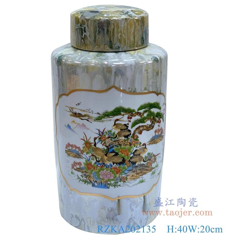RZKA202135  直筒开窗大理石纹山水松鹤圆罐子