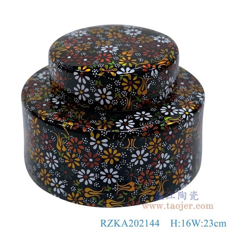 RZKA202144  黑色颜色釉花卉陶瓷矮罐