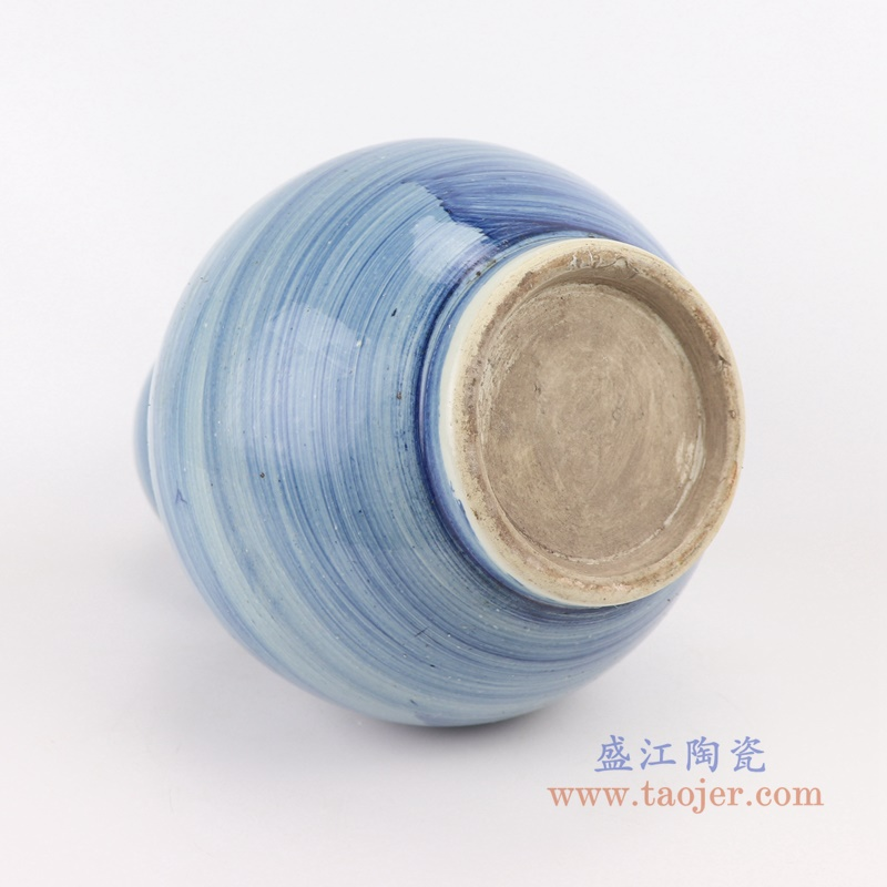 中国风手工蓝纹颜色釉现代陶瓷花瓶