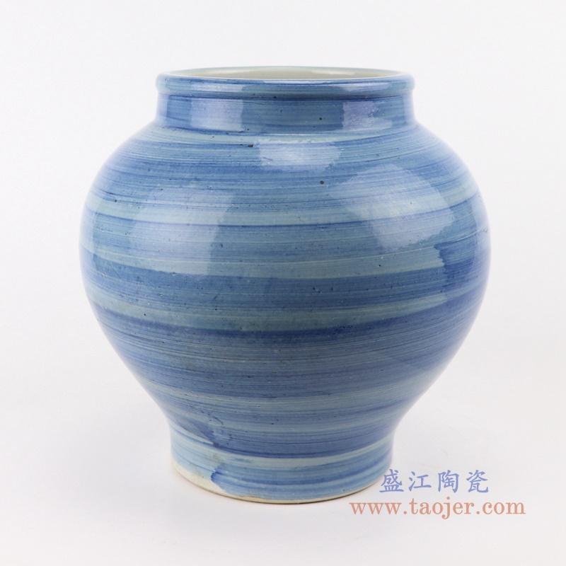 手工蓝纹颜色釉现代陶瓷广口花瓶罐