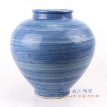 RZPI50  手工蓝纹颜色釉现代陶瓷广口花瓶罐