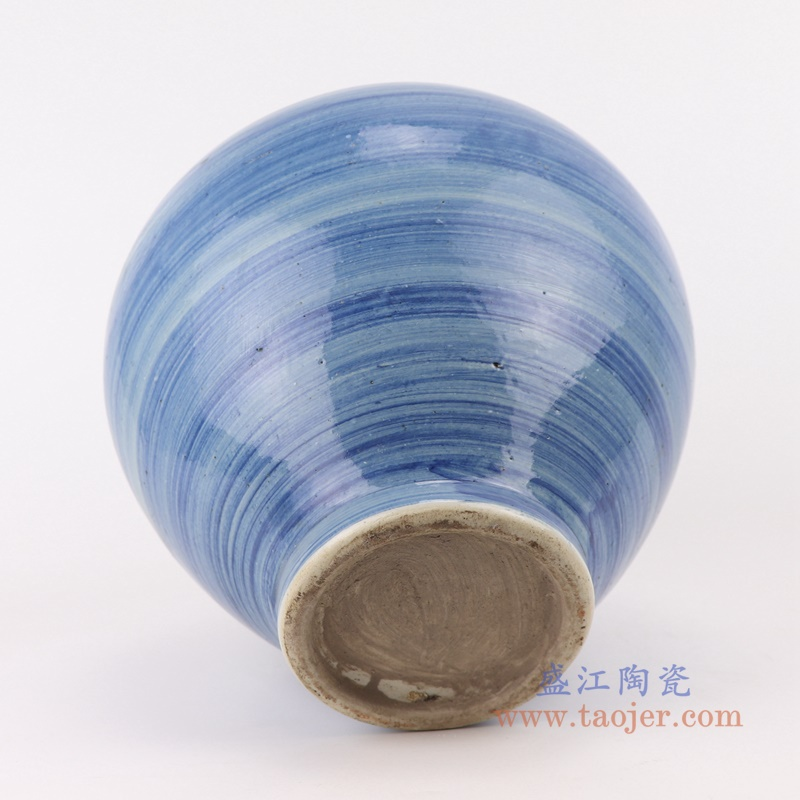 中国风手工蓝纹颜色釉现代陶瓷广口花瓶罐