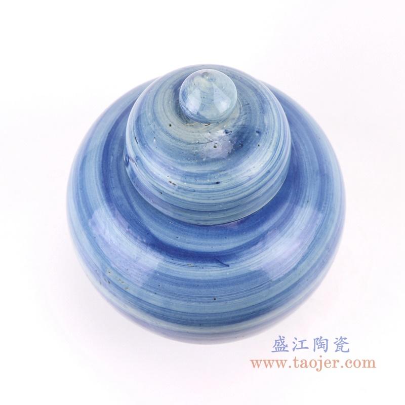 手工蓝纹颜色釉现代陶瓷将军罐