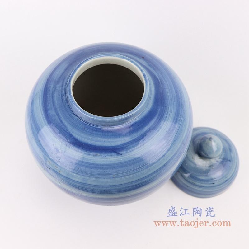 RZPI52  手工蓝纹颜色釉现代陶瓷将军罐