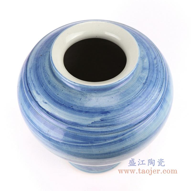 手工蓝纹颜色釉现代陶瓷花瓶罐
