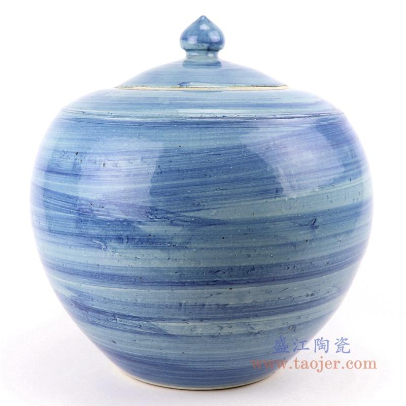 RZPI54 手工蓝纹颜色釉现代陶瓷罐