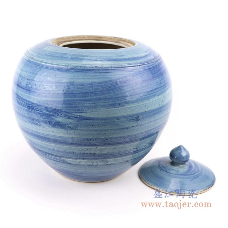 手工蓝纹颜色釉现代陶瓷罐