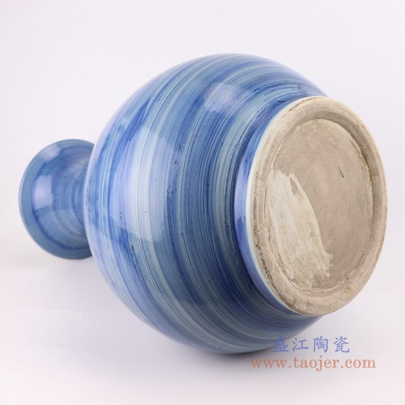 手工蓝纹颜色釉现代陶瓷花瓶