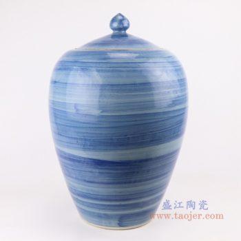 RZPI57  手工蓝纹颜色釉现代简约陶瓷罐