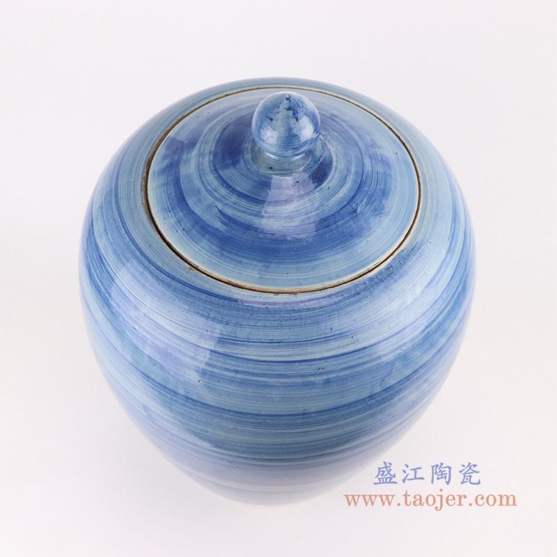RZPI57 手工蓝纹颜色釉现代简约陶瓷花瓶