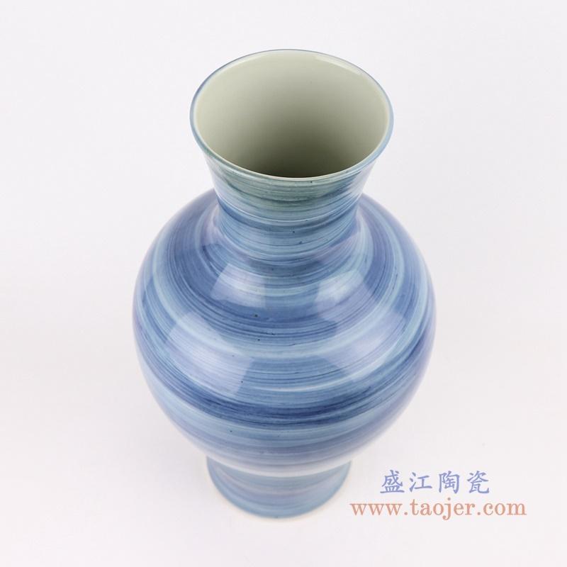 中国风手工蓝纹颜色釉现代简约陶瓷花瓶