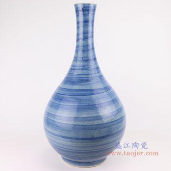 RZPI59  手工蓝纹颜色釉现代简约细口陶瓷花瓶