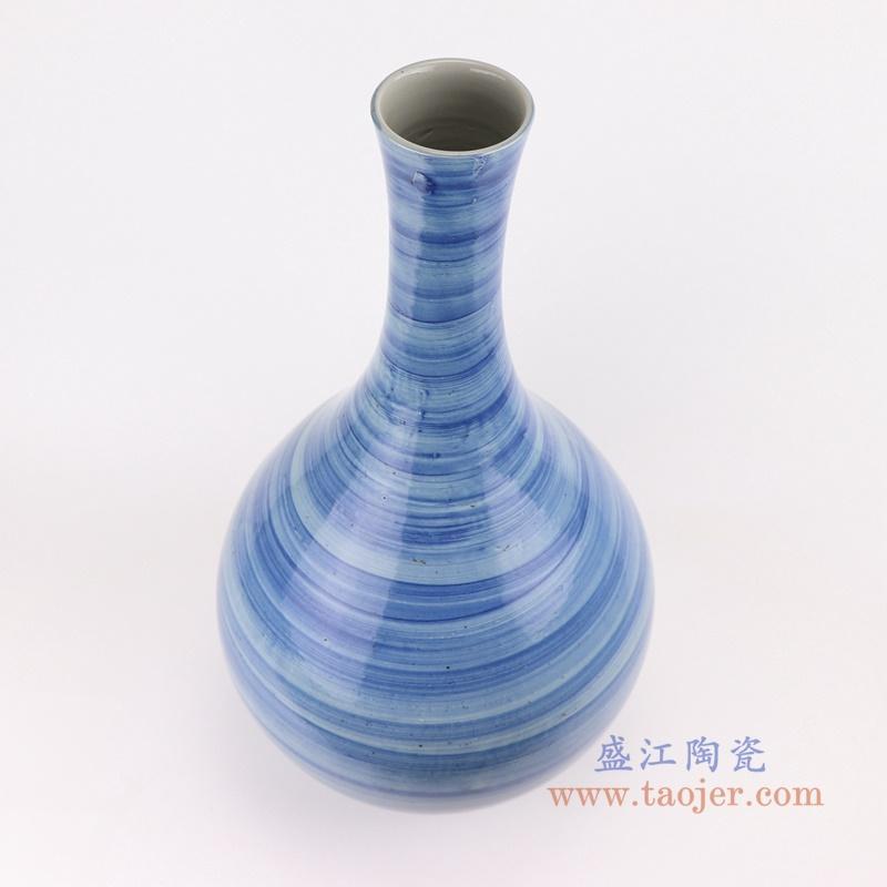 手工蓝纹颜色釉现代简约细口陶瓷花瓶