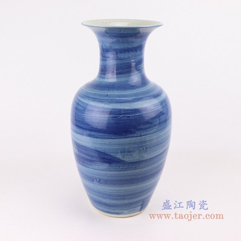 RZPI60  简约手工蓝纹颜色釉现代细口陶瓷花瓶