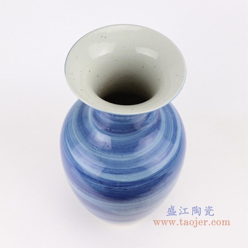 简约手工蓝纹颜色釉现代细口陶瓷花瓶