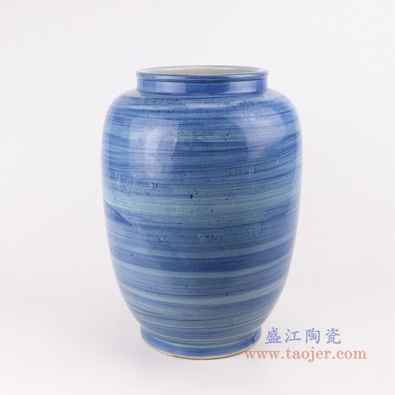 简约手工蓝纹颜色釉现代陶瓷花瓶罐