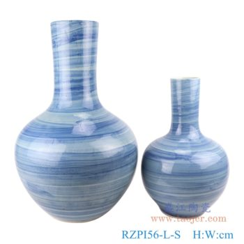 RZPI56-L-S  手工蓝纹颜色釉现代陶瓷花瓶