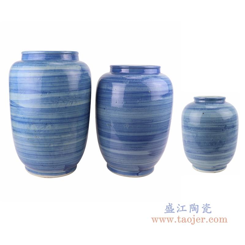 RZPI61 简约手工蓝纹颜色釉现代陶瓷花瓶罐