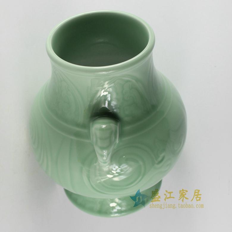 RYKX18-颜色釉青釉豆青雕刻象耳福桶