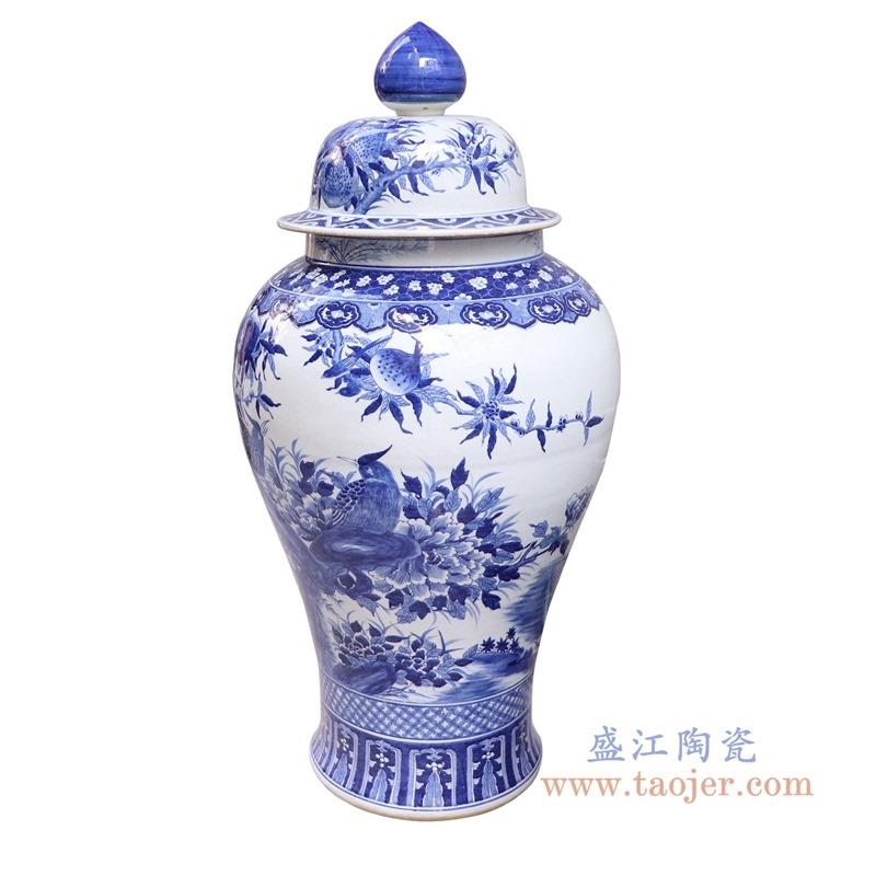 RYLU189-青花花鸟大号将军罐