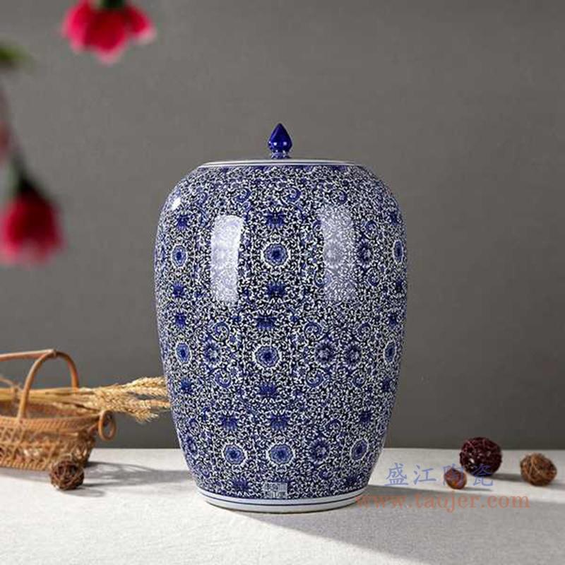 RZAP02-青花缠枝莲冬瓜米缸普洱茶储物罐蓝色