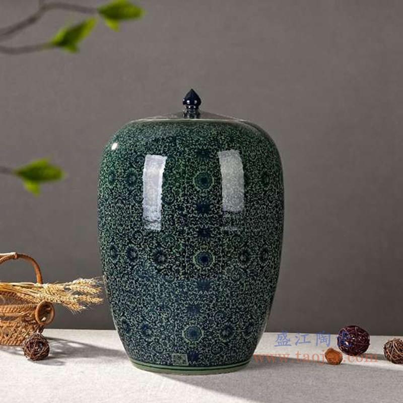 RZAP02-B青花缠枝莲冬瓜米缸普洱茶储物罐绿色