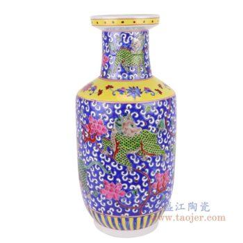 RYZG31-粉彩软彩蓝底麒麟纹棒子瓶花瓶
