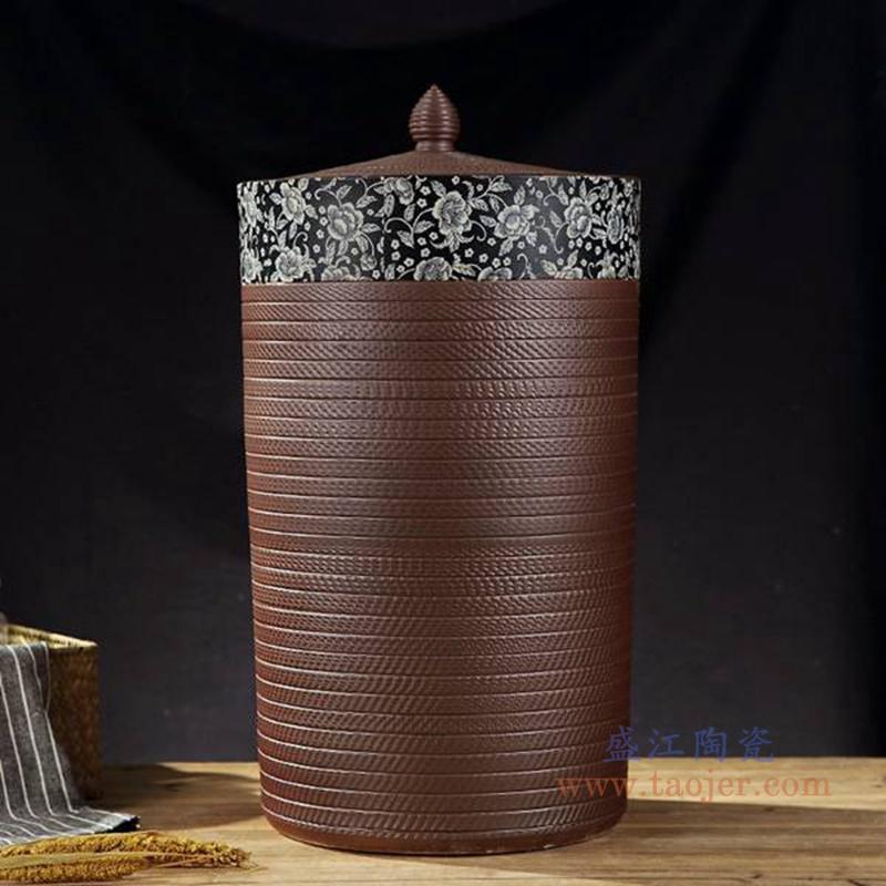 RZAP-跳刀纹平盖青花陶瓷缸米缸水缸酒缸油缸酵素缸茶叶罐