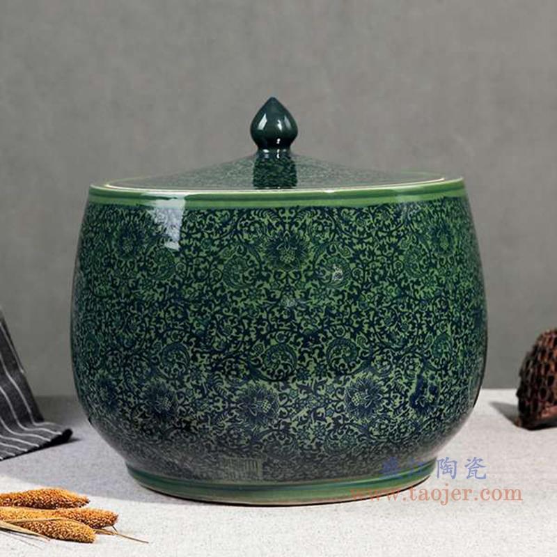 RZAP13-A-仿古青花缠枝莲绿釉将军罐米缸水缸酒缸油缸酵素缸茶叶罐储物罐