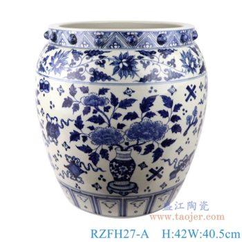 RZFH27-A 青花缠枝莲博古纹花卉大缸鱼缸