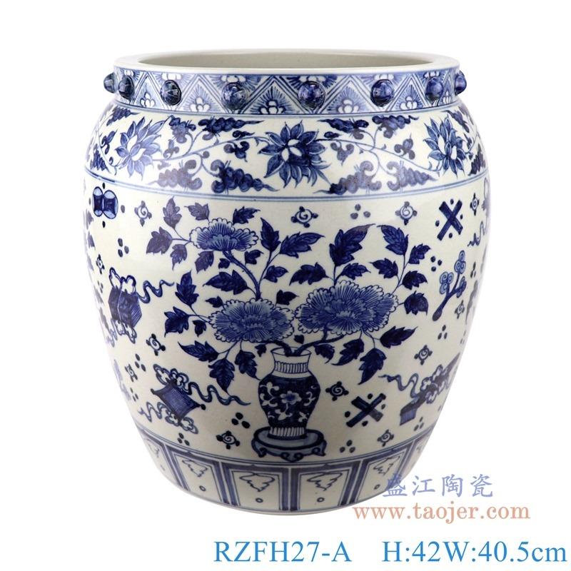 RZFH27-A青花缠枝莲博古纹花卉大缸