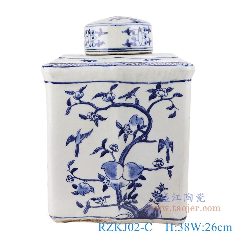 RZKJ02-C青花长方形仙桃纹扁罐子