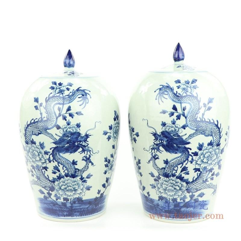 上图RZMW08-A清代手工瓷青花牡丹龙纹冬瓜罐