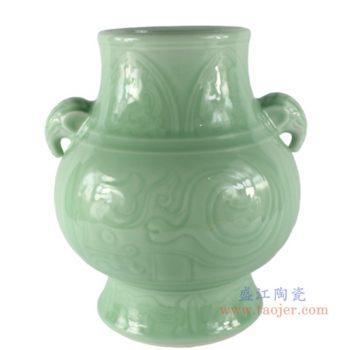 RYKX18  颜色釉青釉豆青雕刻象耳福桶
