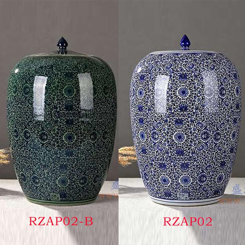 青花缠枝莲冬瓜米缸普洱茶储物罐蓝色绿色