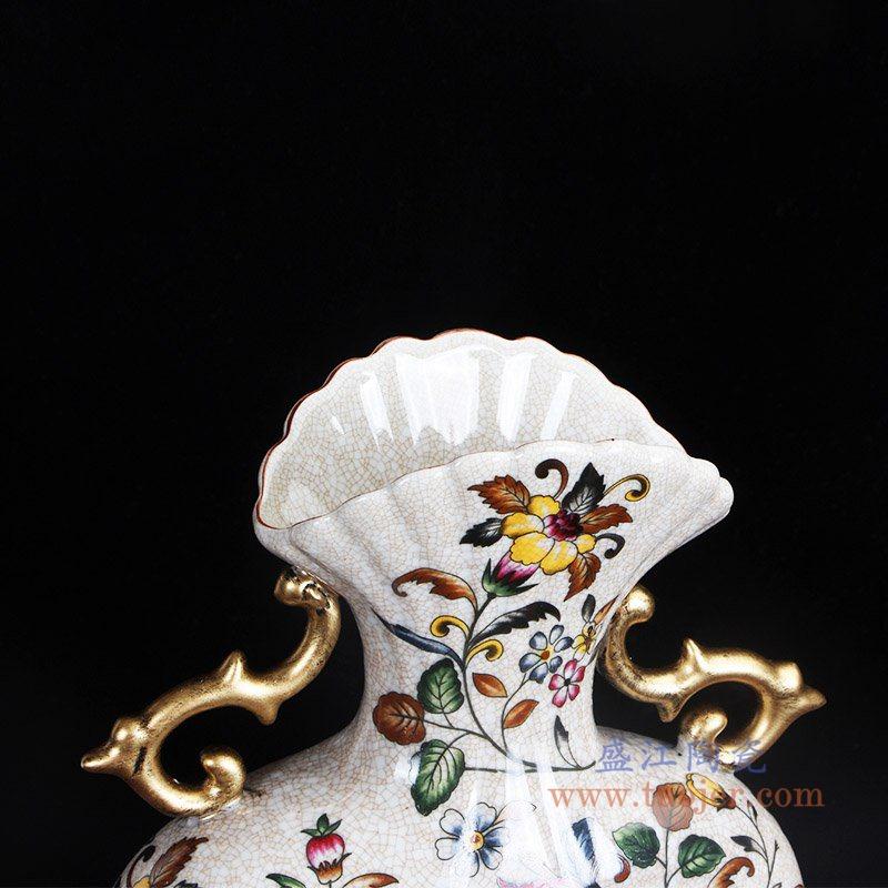 RYPU56 彩色开片双耳镀金花卉扁肚瓶