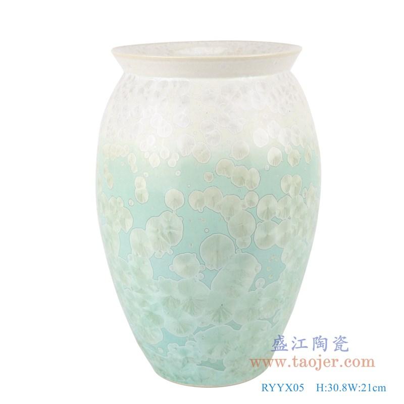 RYYX05 结晶釉白绿两色底敞口直筒瓶