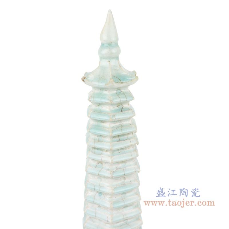 RZEI10 颜色釉豆青釉多层宝塔