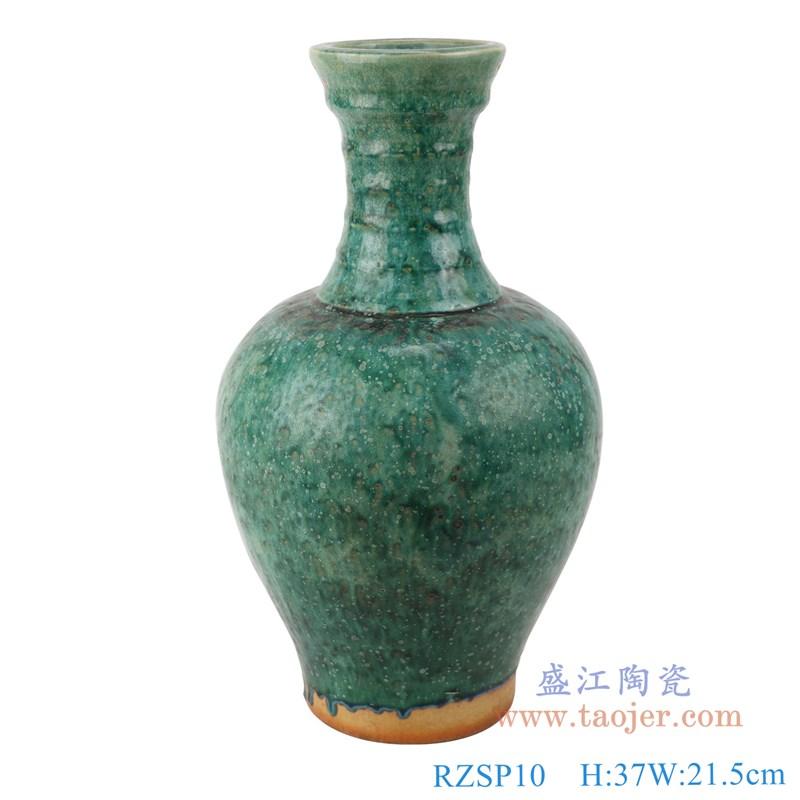 RZSP10 仿古窑变绿釉竹节纹类观音花瓶