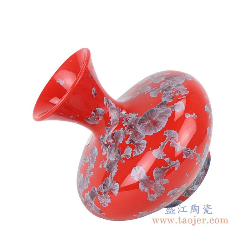 RZCU04 结晶釉红底扁肚瓶侧面