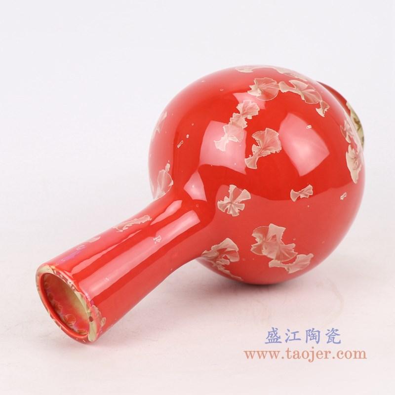 RZCU11 结晶釉红底红色天球瓶侧面
