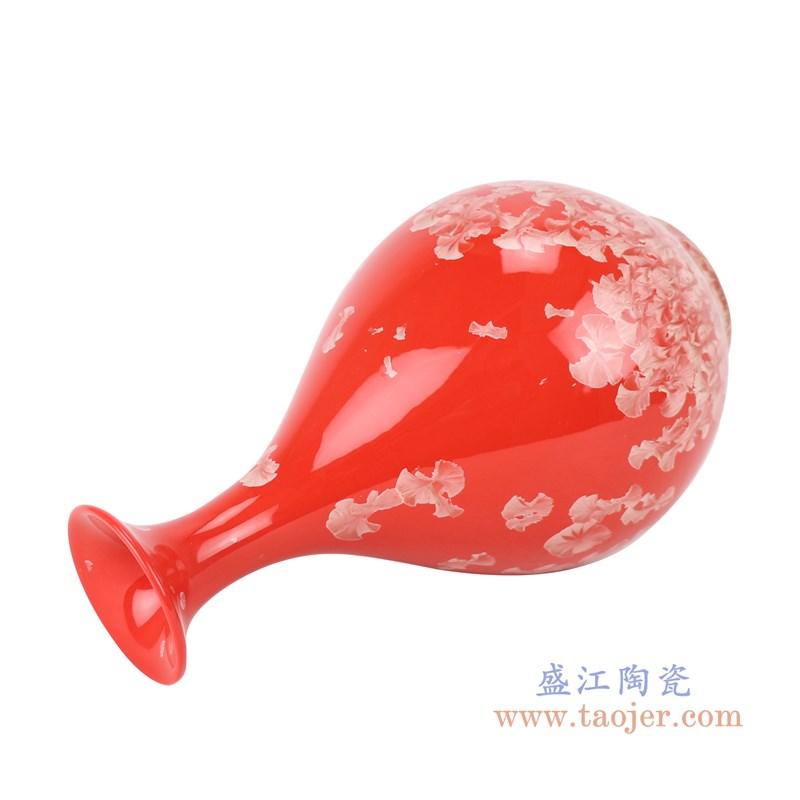RZCU12 结晶釉红底红色玉壶春瓶侧面