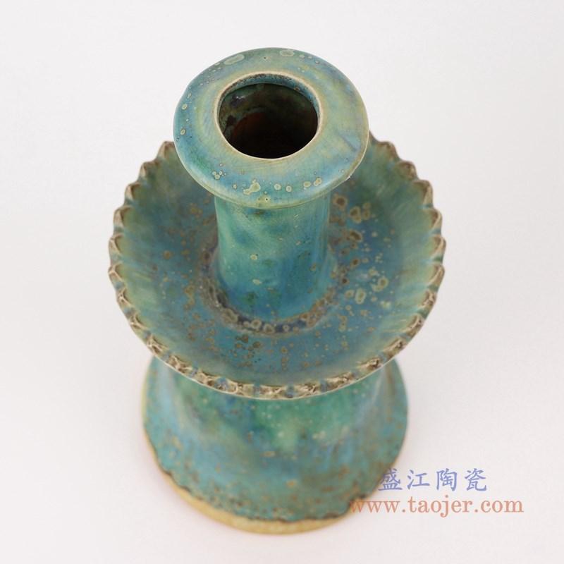 RZSP22 仿古窑变绿釉烛台顶部