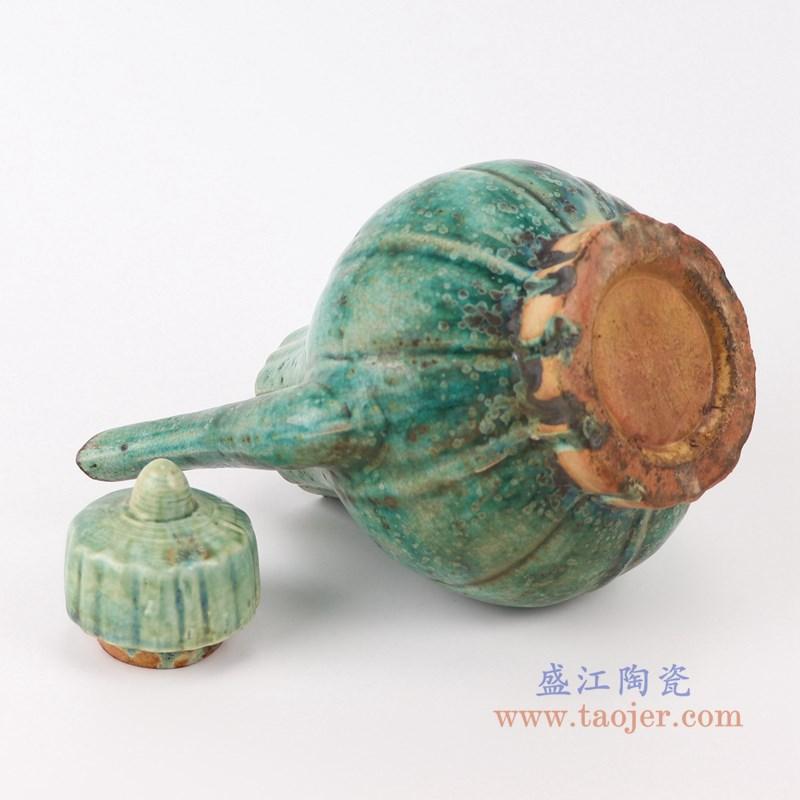 RZSP24 仿古窑变绿釉竖纹带盖水壶酒壶底部